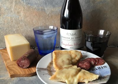 Duck sausage, cheese & Beaujolais
