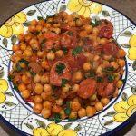 Spanish garbanzo and butifarra stew