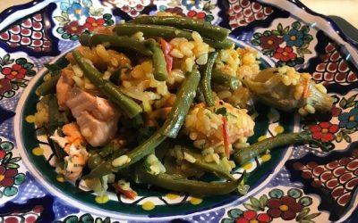 Salmon Paella,  Chaumes, Chateaumar wines